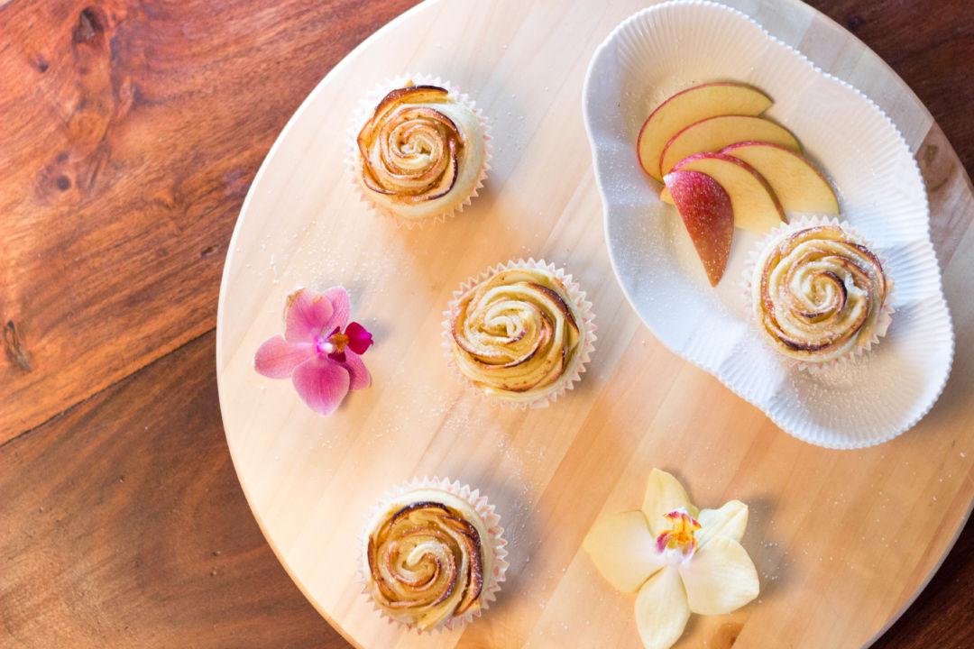 mini apple rose pies, rosetærter, mini tærter, minitærter, æbletærte