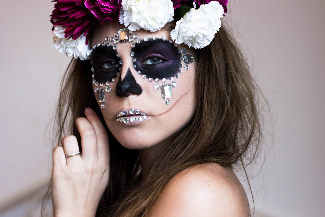 sugar skull, diamond sugar skull, halloween makeup, halloween, panduro hobby