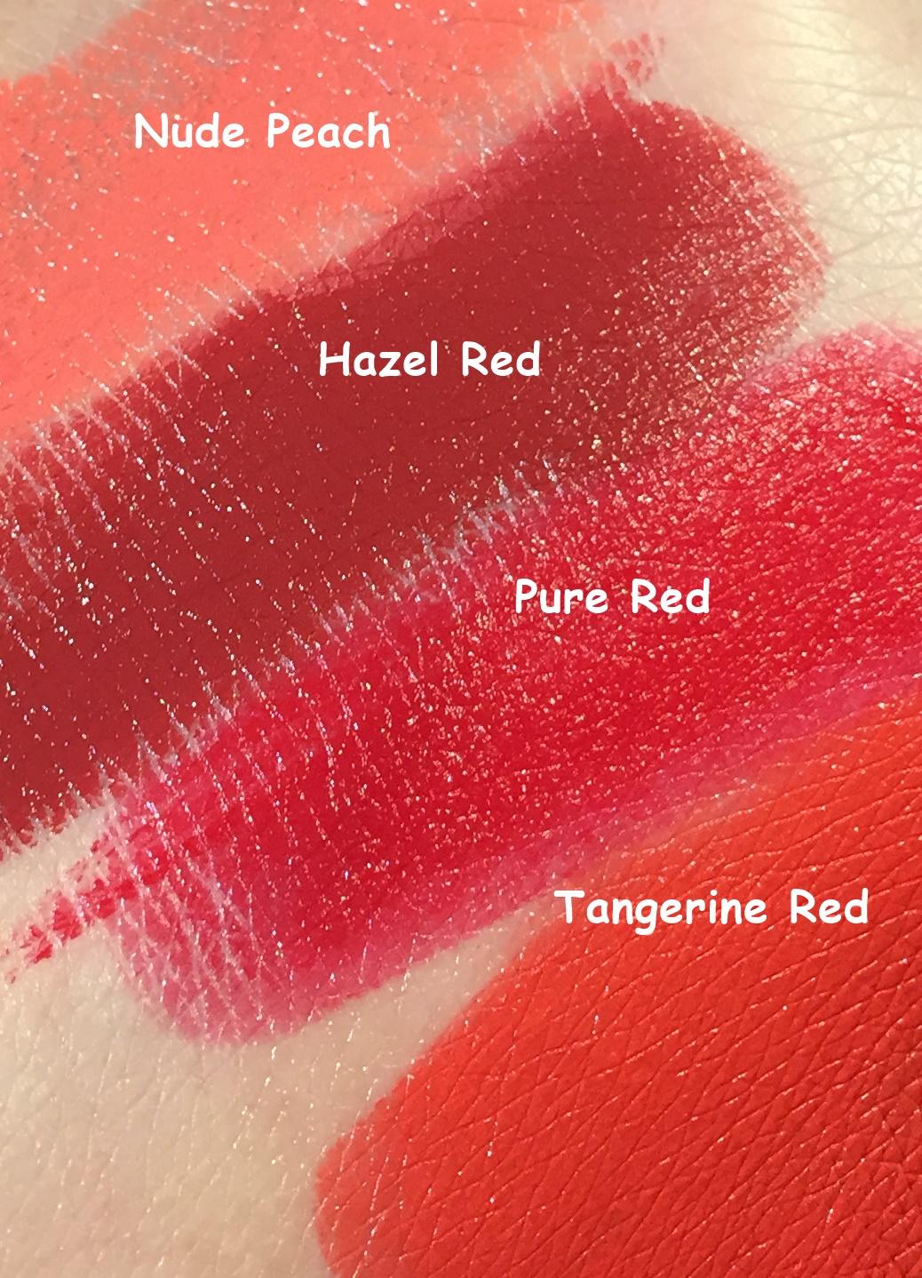 Læbestifter, Rituals, Rituals Makeup, Lips, Krummeskrummelurer, Tangerine Red, Hazel Red, Pure Red, Nude Peach