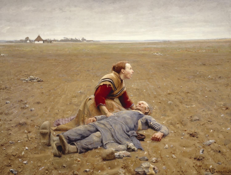 H.A. Brendekilde. Udslidt. 1889. Olie på lærred, 207 x 270 cm. Brandts – Museum for Kunst & Visuel Kultur. Foto Bent Hesby