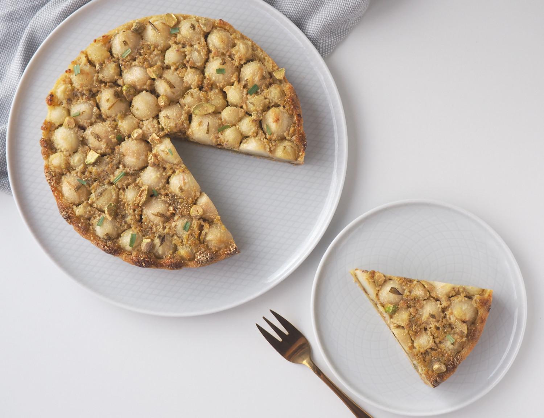 Pæretærte med pistaciefragipane og estragon af Rebekka Mikkelsen Beksemad