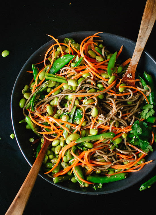Just one cup of edamame will add a whopping 17 grams of protein ? and the soba noodles kick that up even more. Recipe here.
