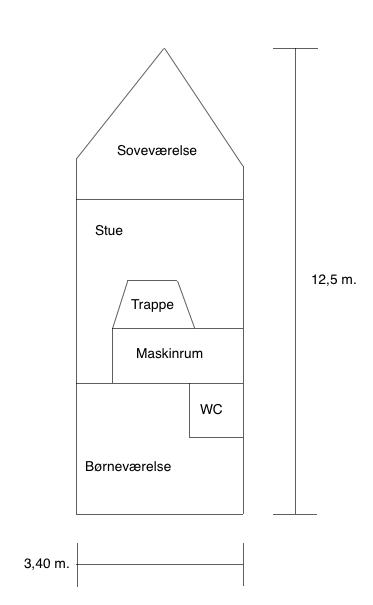 Her er båen med forklaring af indretningen på nederste etage.
