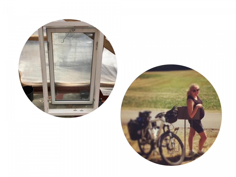 De fine vinduer og mig (gravid) på cykeltur til Odden