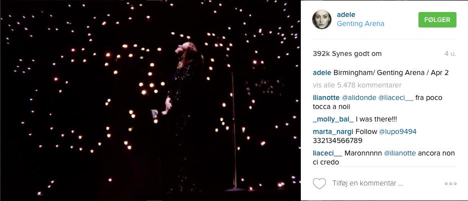 Birmingham/ Genting Arena / Apr 2 I Copyright Adele, Instagram