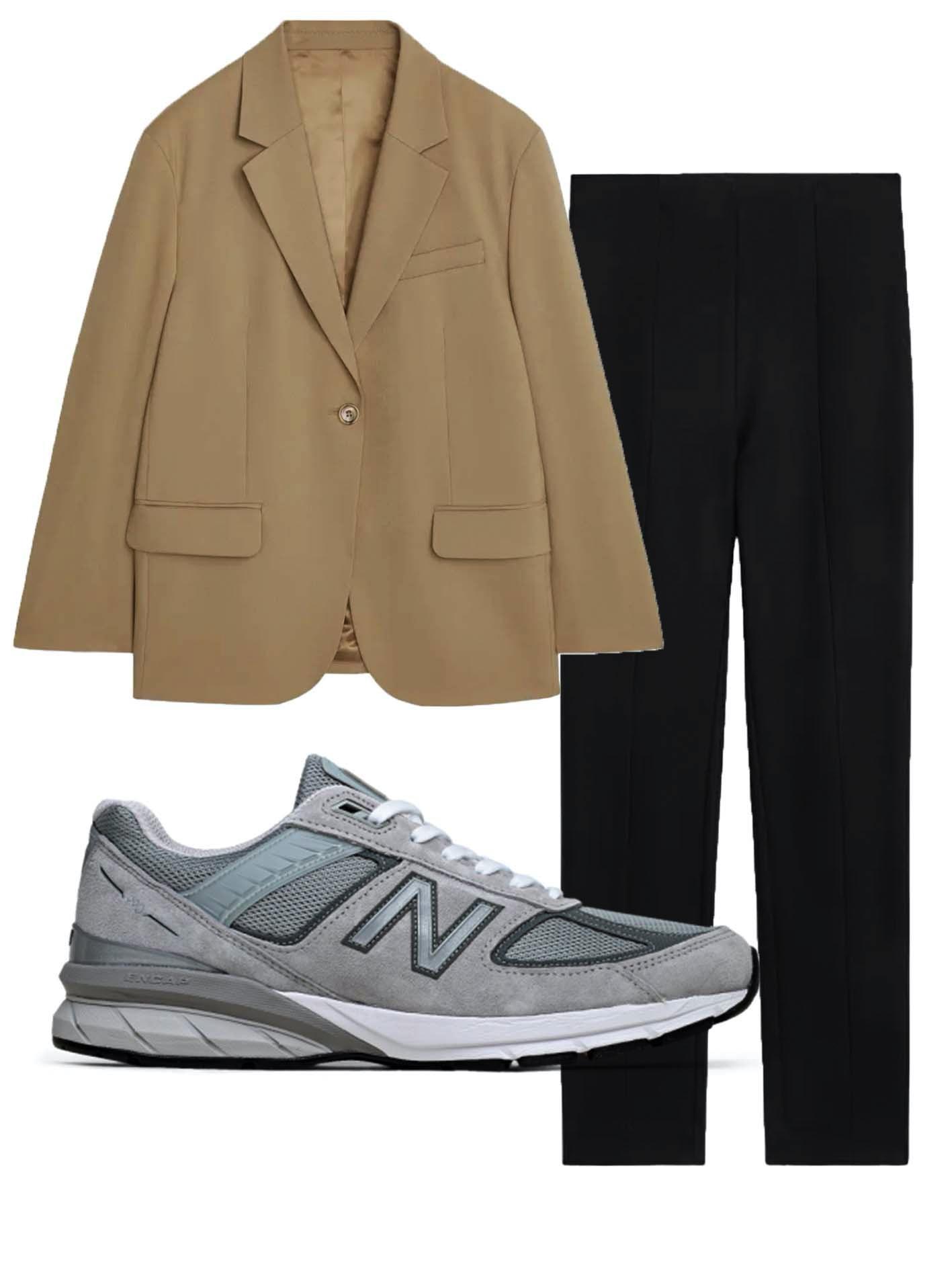 Blazer, bukser og et par sneakers