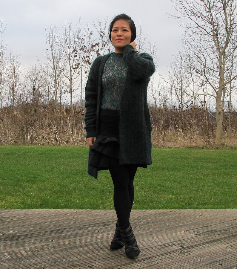 Green lace and mohair day | outfit | The Tiger aka Chau