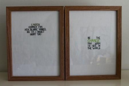 To citater fra Femina hhv. Dalai Lama. Ramerne er fra Tiger til 30kr.
