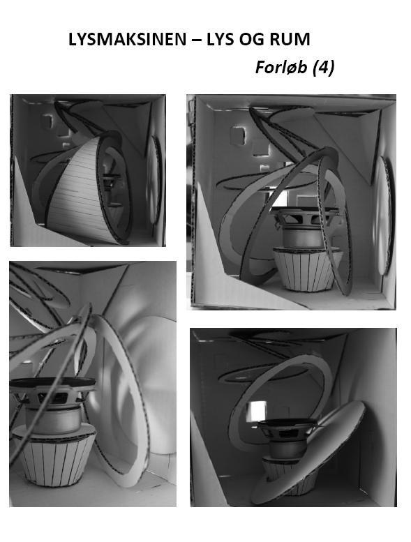 """Sidste fase af vores lysmaskineprojekt. Man skal forestille sig, at """"spiralen"""" starter øverst i kassen og fortsætter ud til højre, hvor der vha. lys og skygge bliver dannet cirkler på væggen, så spiralen fortsætter den vej ud. Især billedet nederst til venstre illustrerer det meget godt."""