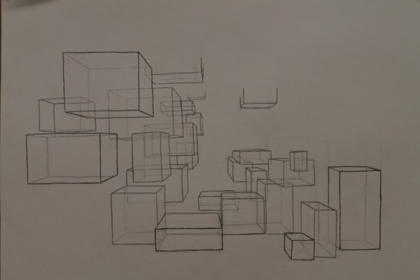 Min endelige rumtegning (...), som jeg synes bliver godt skabt især til venstre på tegningen. I de kommende dage vil jeg arbejde noget mere på skygger og farvelægge nogle af fladerne, så rummet kommer mere tydeligt frem.