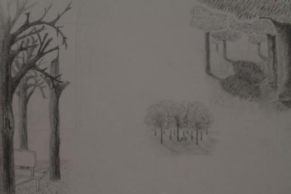 Et billede af min endelige tegning (og dog, den er ikke færdig). Ideen var, at jeg ville tegne en situation fra det samme sted i hver årstid - efterår mangler, da jeg ikke nåede at blive færdig inden deadline. Forud for denne tegning er der blevet tegnet ni fulde A3-sider fyldt med skitser af træer. Om de her eksempler er de bedste er svært at vurdere, men de giver mig en stemning.