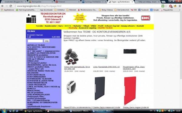Et screenshot fra tegneogkontor.dk's hjemmeside. Som nævnt så ser den ikke særlig fancy ud, men man får alligevel en masse behov, når man kigger rundt ..!