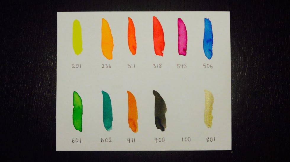 Farveprøverne af de ti farver, der nu har fundet sig vel tilrette hos mig ...