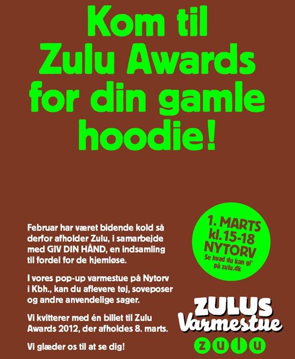 Hjælp en hjemløs og kom til Zulu Awards!
