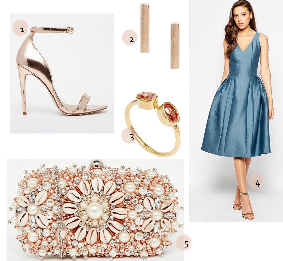 Bryllupsoutfit: blue & rose gold