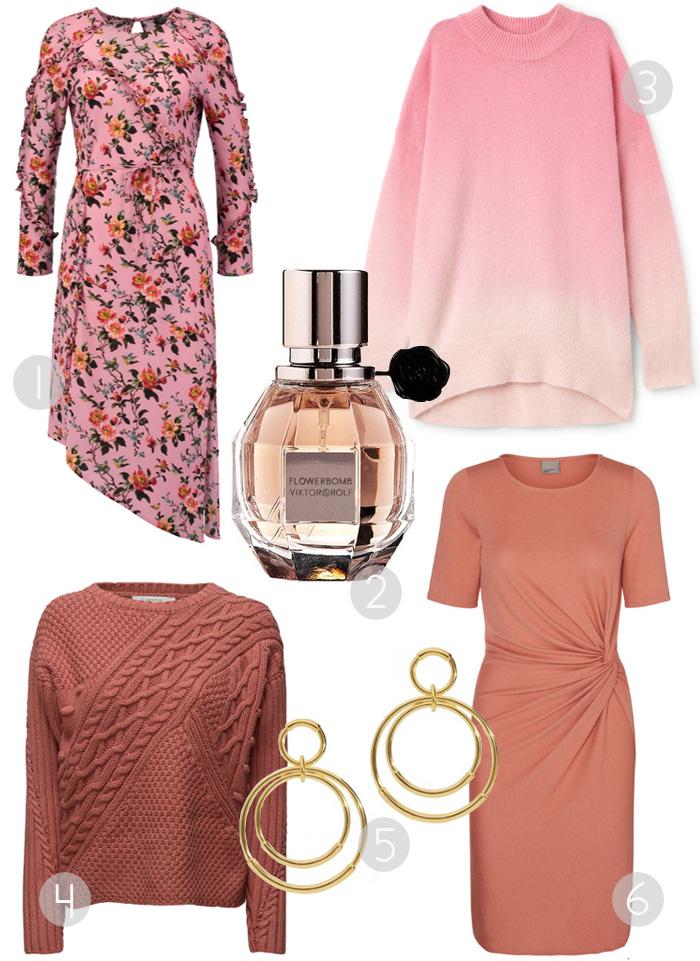 marts-shopping-cravings-pink-version-flowerbomb-viktor-rolf-topshop-blomster-print-kjole-weekday-strik-gestuz-vero-moda-draperet-kjole-hvisk-oereringe-tube-guld