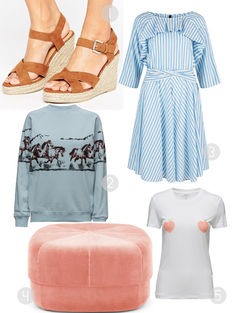 april-shopping-cravings-ganni-heste-bluse-horse-jumper-pimkie-wedges-yas-stribet-kjole-peach-t-shirt-normann-copenhagen-puf
