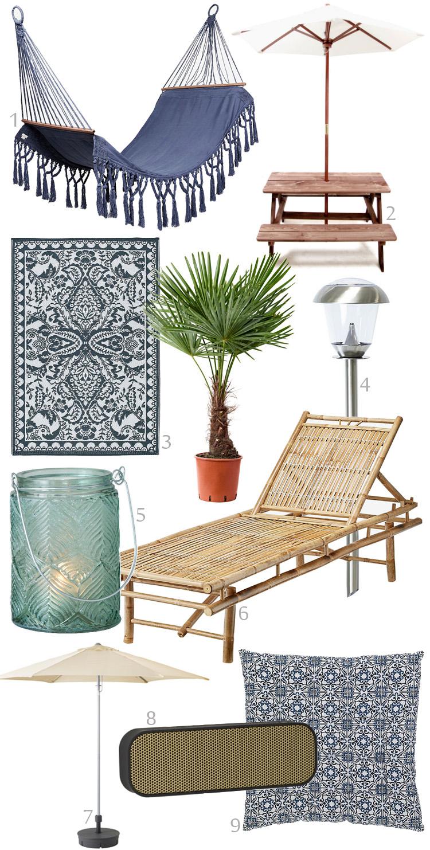 ting-til-haven-haengekoeje-udendoers-taeppe-boernebaenk-lanterne-bambusstol-parasol-ikea-ellos-kreafunk-bluetooth-afspiller-pudde