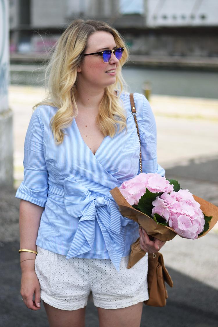 outfit-ellos-slaa-om-skjorte-wrap-shirt-frida-fahrman-for-ellos-ray-ban-clubmaster-mirror-blue-hm-conscious-shorts-missjeanett-odensebloggers-jeanett-drevsfeldt
