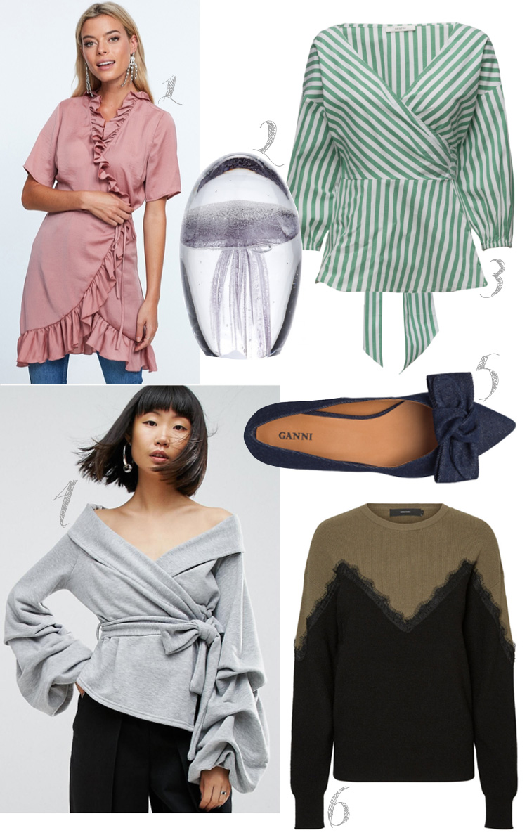 september-shopping-cravings-missjeanett-gina-tricot-wrap-dress-slaa-om-kjole-bahne-blaeksprutte-brevpresser-gestuz-bluse-ganni-denim-sko-vero-mode-strik-med-blonde