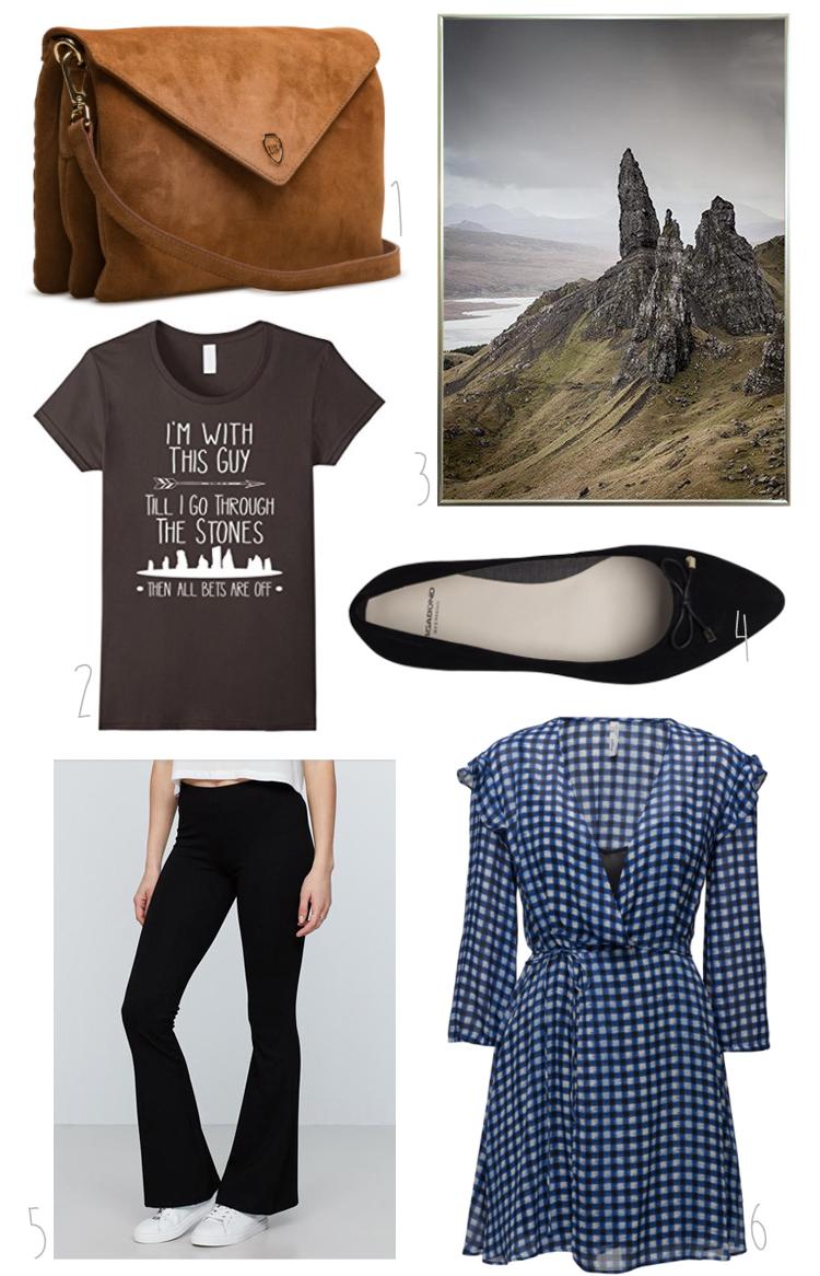 shopping-cravings-oktober-outlander-t-shirt-leowullf-taske-skotland-plakater-gina-tricot-trompetbukser-bukser-med-svaj-mango-kjole-vagabond-ballerina