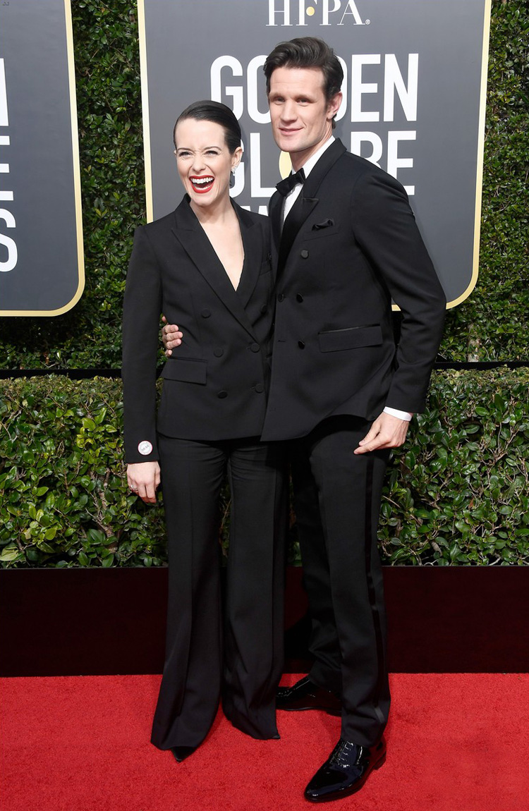 claire-foy-golden-globes-2018-matt-smith-red-carpet-worst-dressed