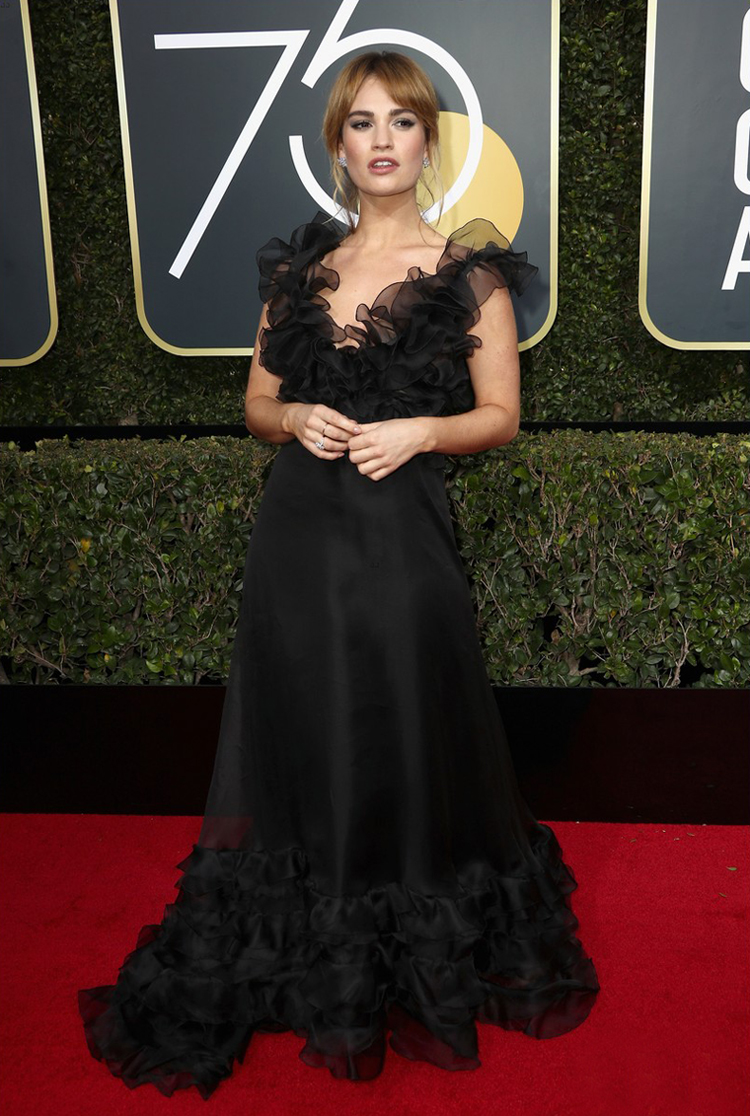 lily-james-2018-golden-globes-carpet-black-chiffon