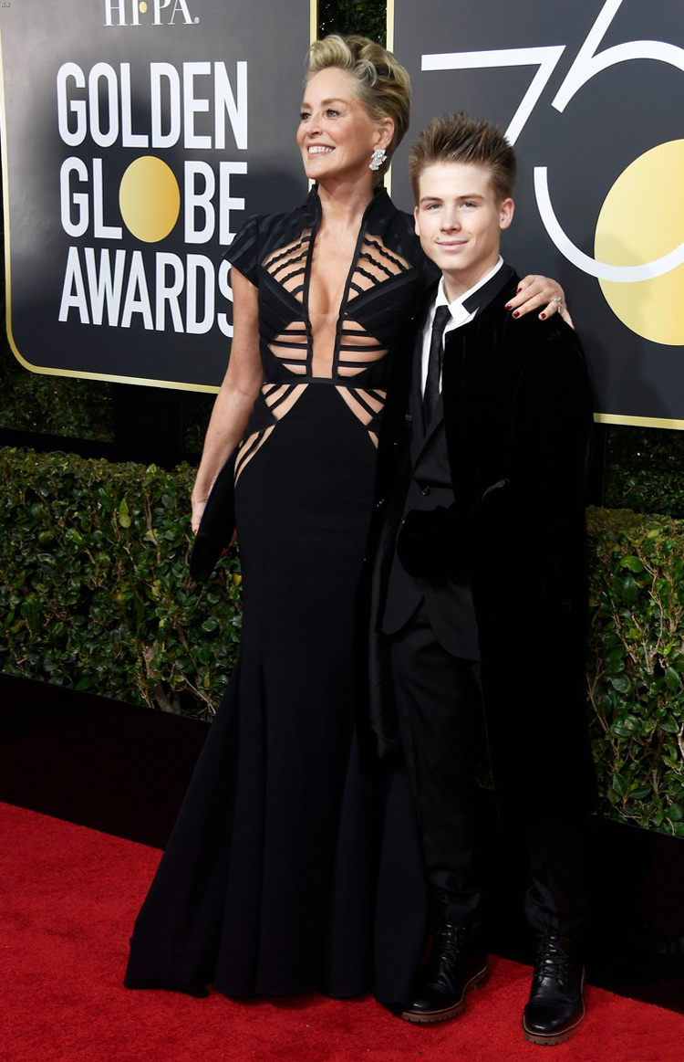 sharon-stone-and-son-golden-globes-2018