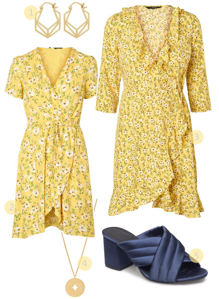 Gule kjoler fra VILA og Vero Moda
