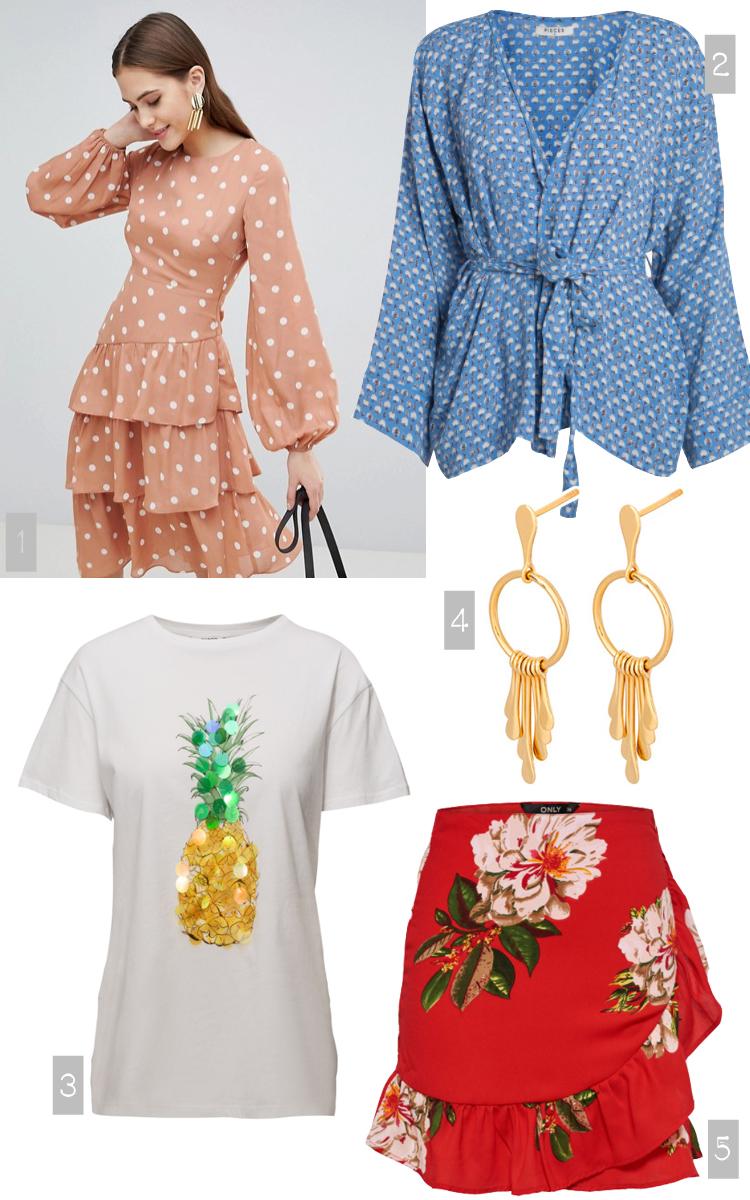 Pieces kimono - Mango ananas t-shirt