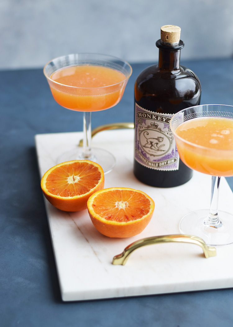 Blood orange Fitzgerald cocktail