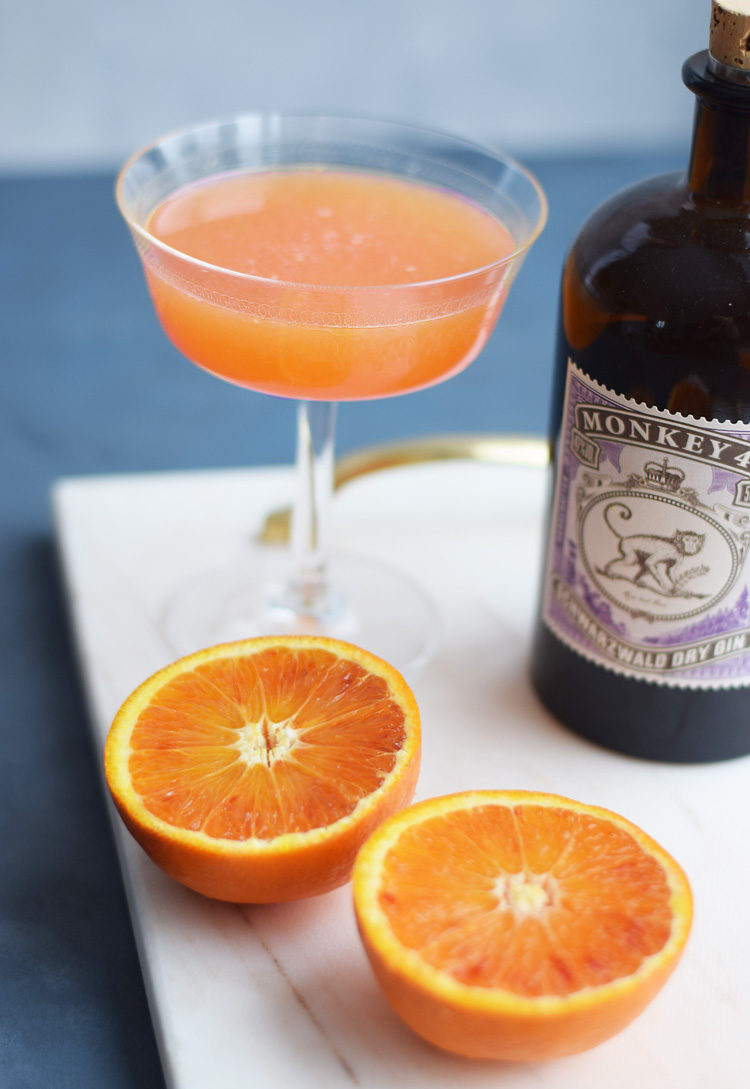 Blood orange Fitzgerald cocktail opskrift