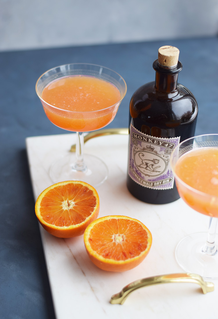 Blood orange Fitzgerald cocktail reciepe