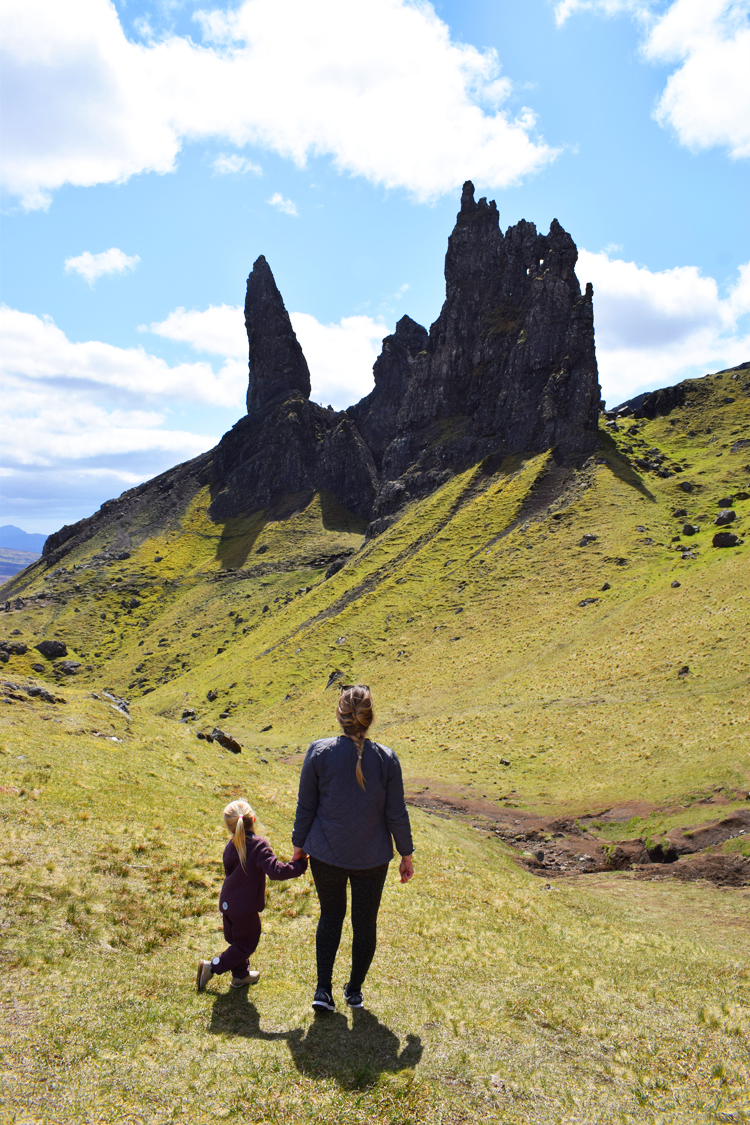 Old man of Storr Isle of Skye hiking with kids