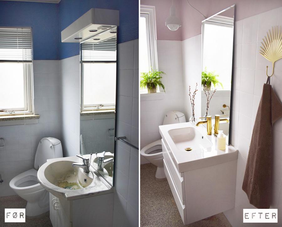 Badeværelse gæstetoilet makeover Dansani lyserød messing