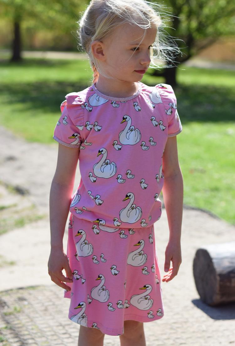 Småfolk svane print lyserødt nederdel