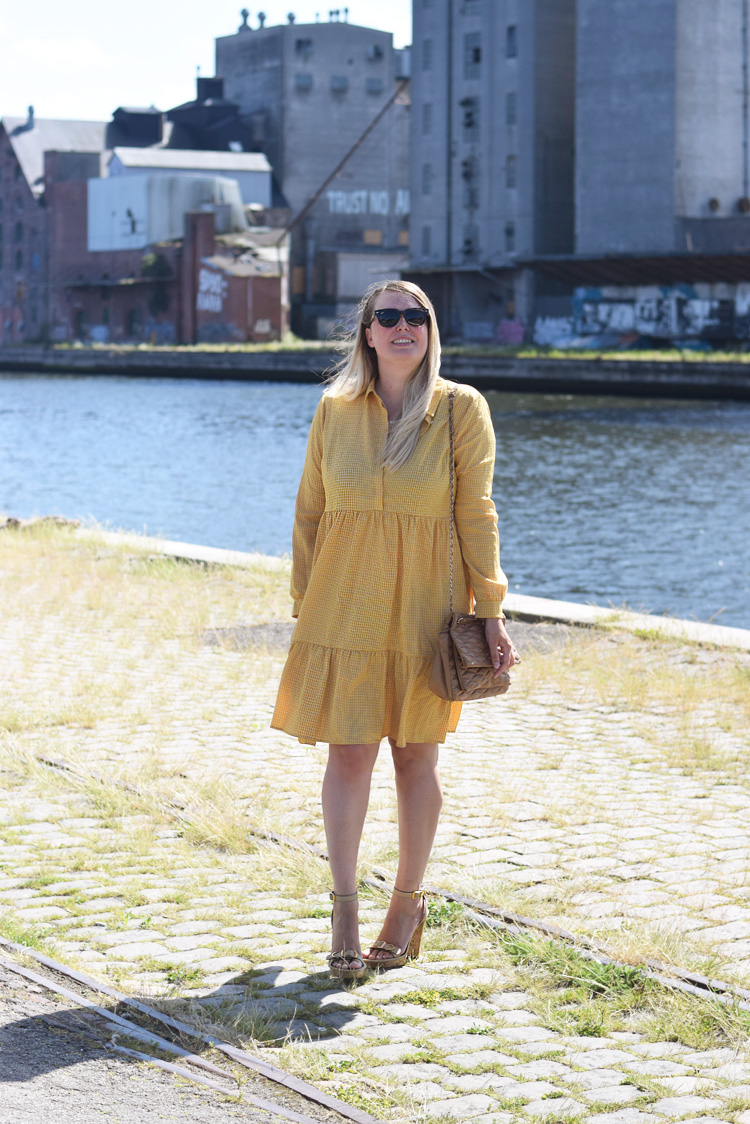Pieces yellow midi dress