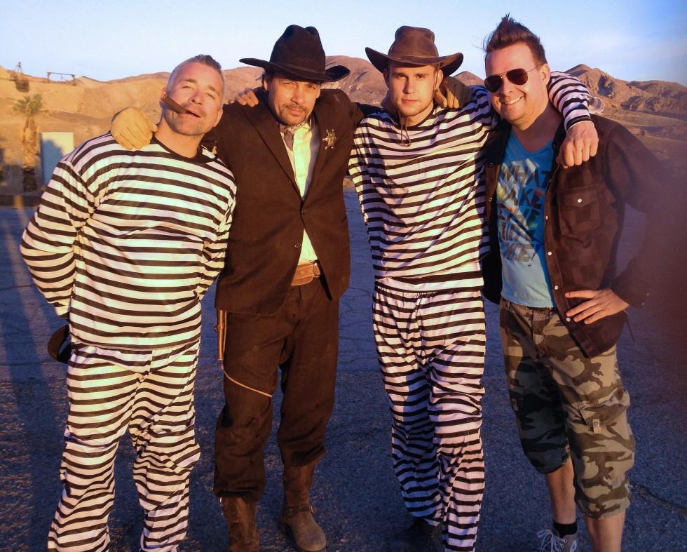 USA holdet efter optagelserne til en lille sketch undervejs til Las Vegas.