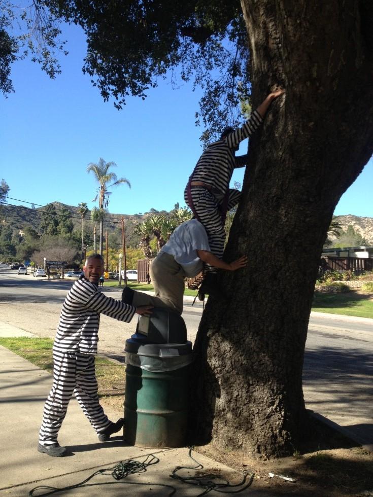 Forberedelser til et stunt i Los Angeles, USA