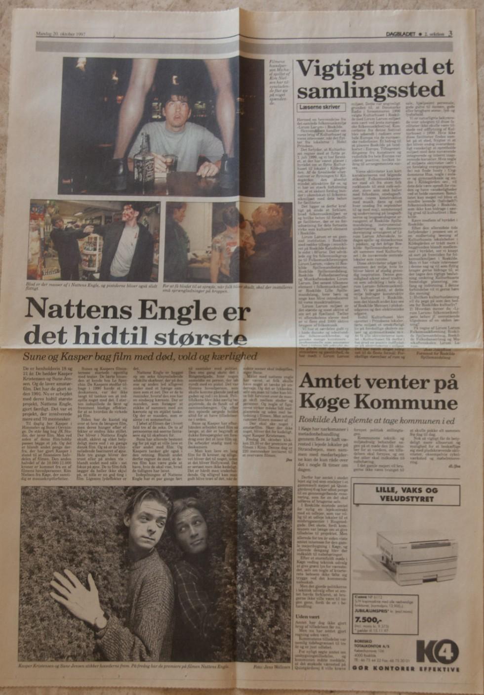 Artikel om Nattens Engle fra Dagbladet Roskilde tidende 1997.