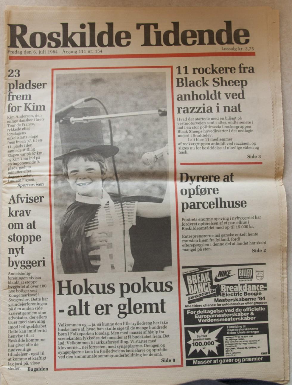Min første optræden i de danske medier, Roskilde Tidende, fredag d. 6. juli 1984.