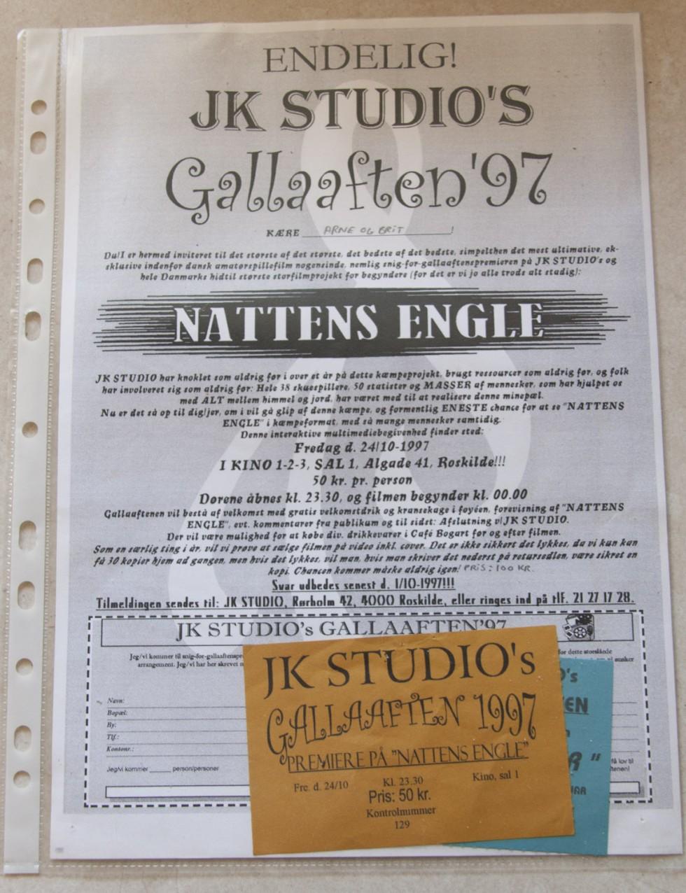 Indbydelse og billetter til gallapremieren på vores film Nattens Engle i Kino Roskilde, 24. oktober 1997.