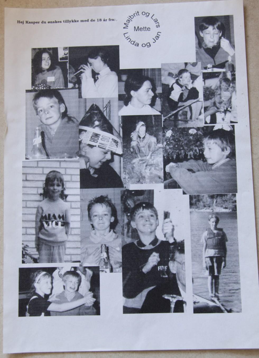Billedecollage fra min 18 års fødselsdag. Her er vist også et enkelt billede med det lange garn.