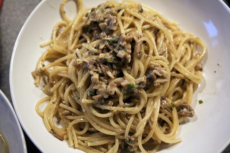pasta med svampe