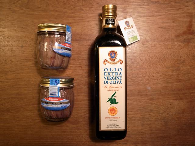 ansjoser og olivenolie