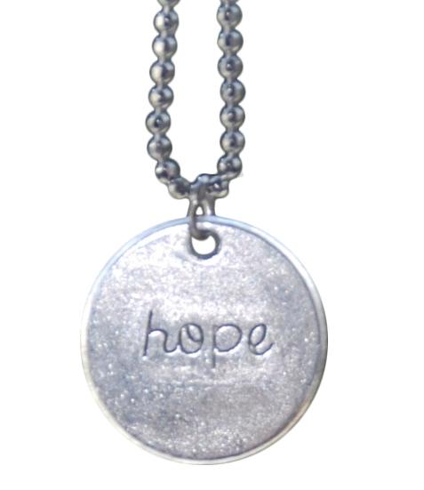 Halskæde (oxyderet) med HOPE tegn