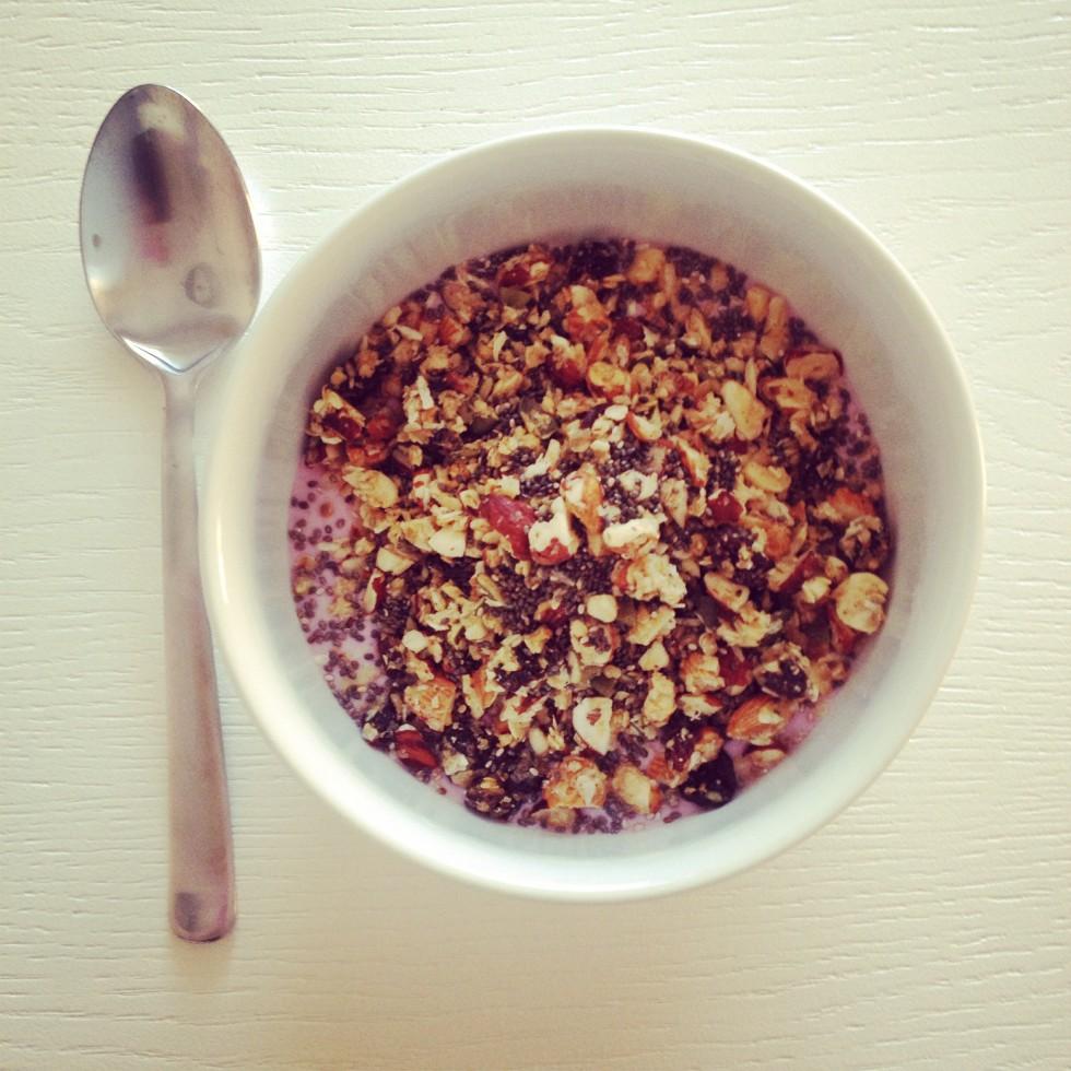 Yougurt med hjemmelavet müsli og chiafrø