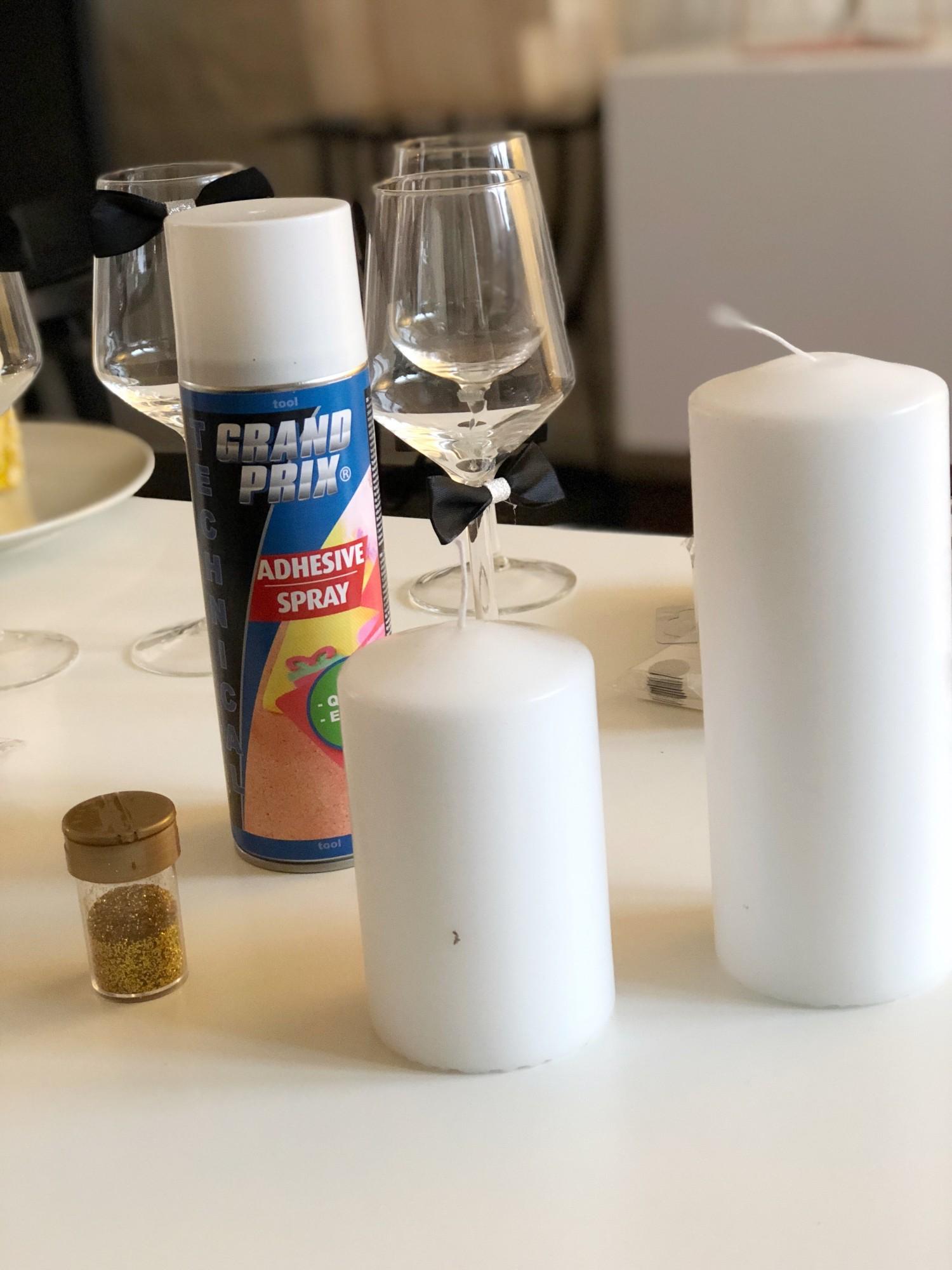 Stearinlys med glimmer - nytårspynt til nytårsbordet