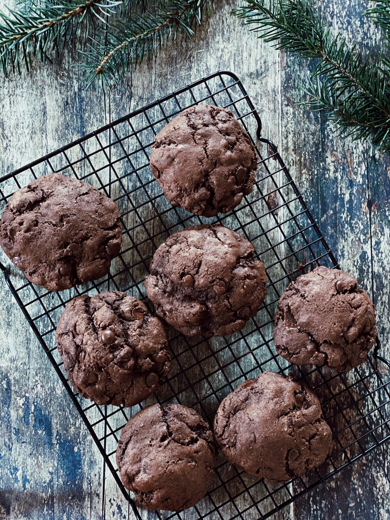 Brownie cookies med guldkarameller