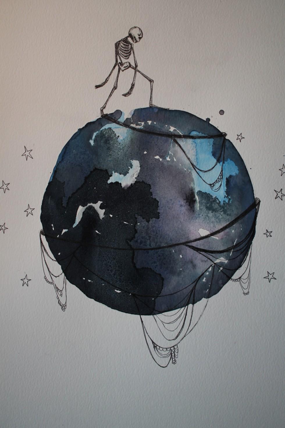 Akvarel og filtpen på A3 papir.